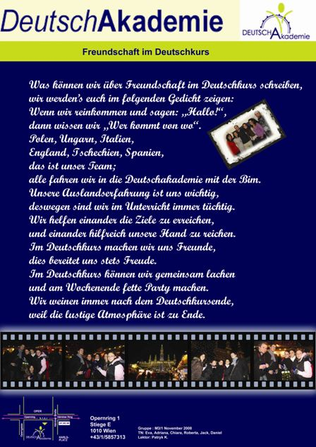 Freundschaft im Deutschkurs